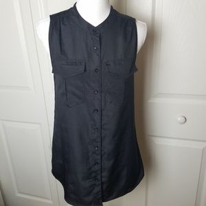 J Crew Sleeveless Black Blouse Size 2